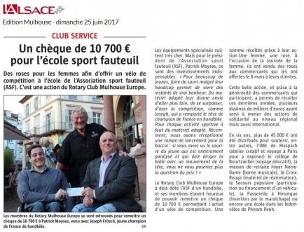 Remise chèque à l'ASF Mulhouse